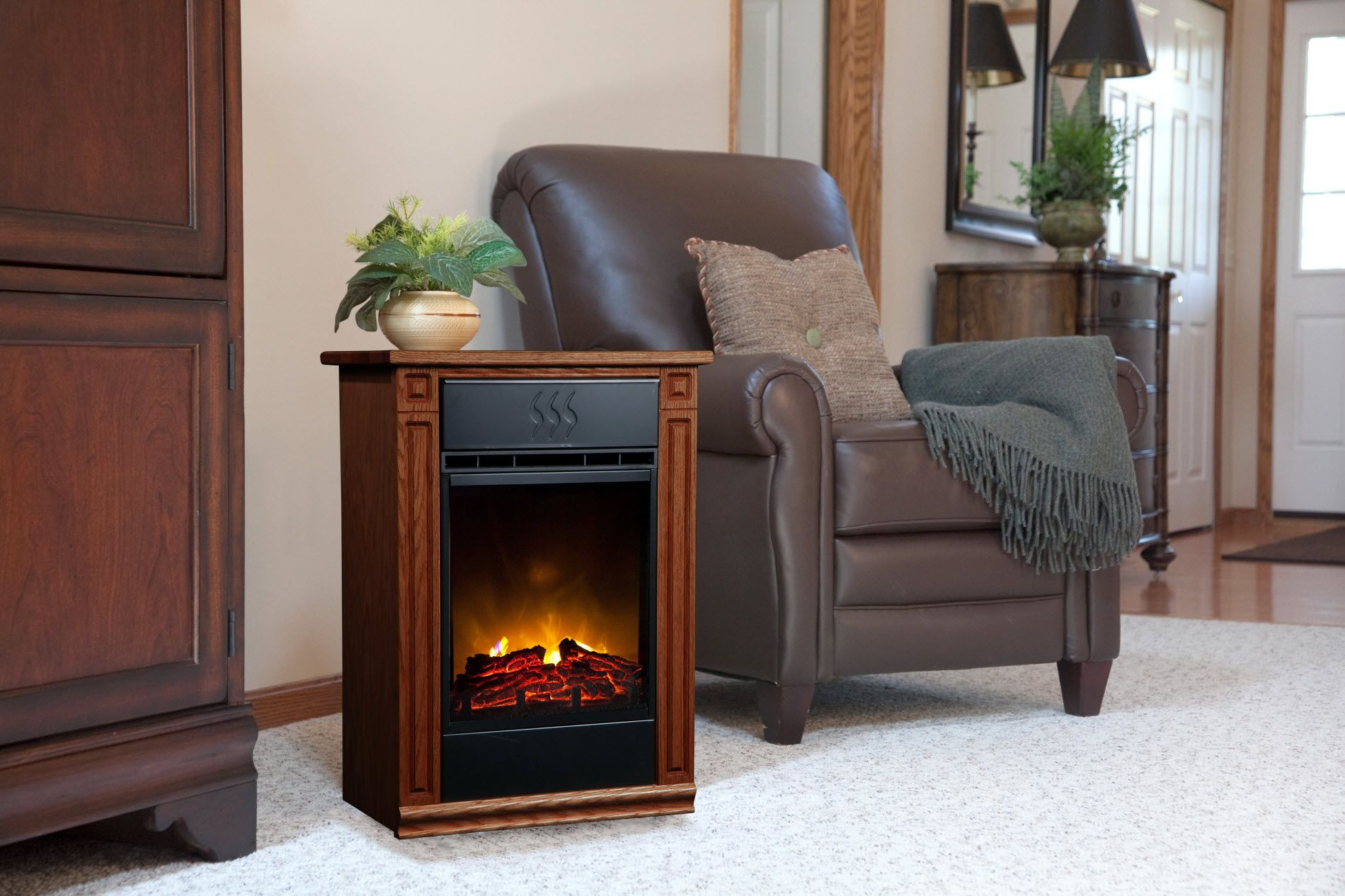 Heat Surge Accent Electric Fireplace - Dark Oak
