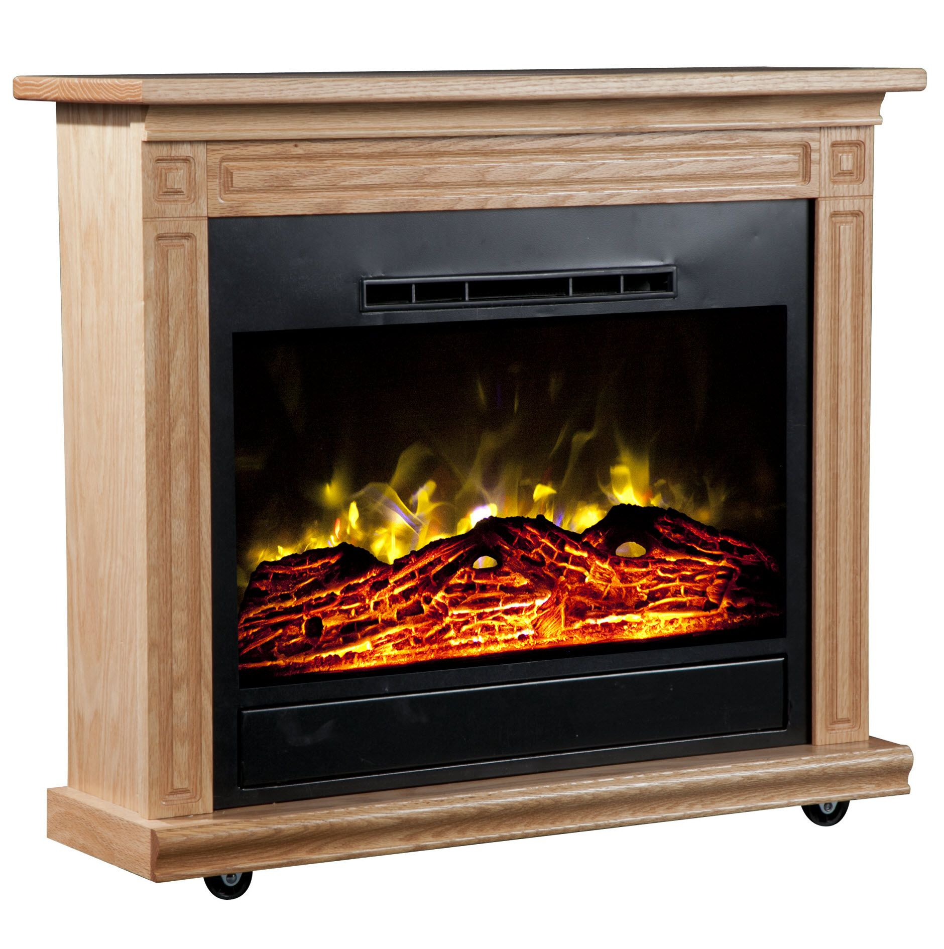 Heat Surge Roll-n-Glow Electric Fireplace - Light Oak