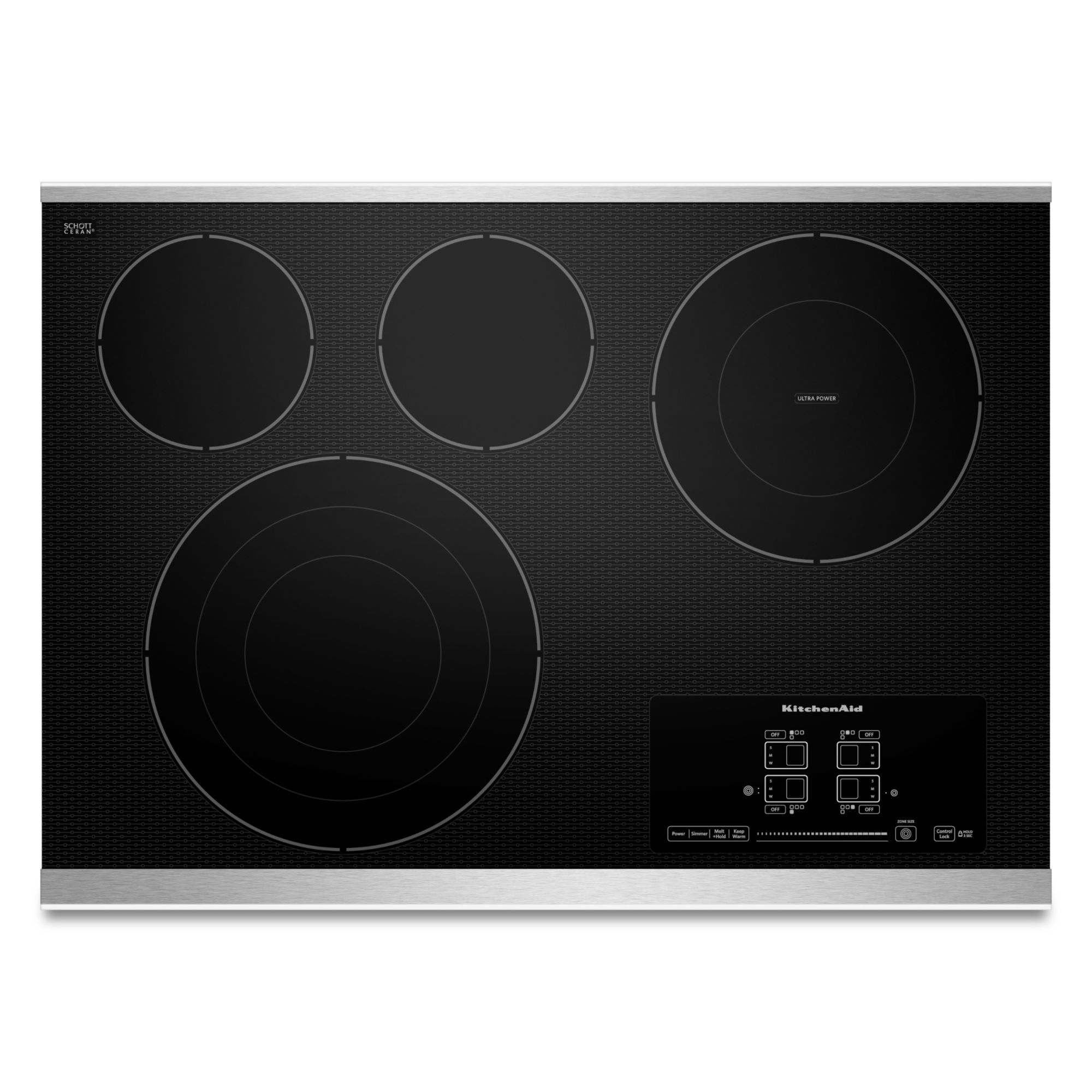 KitchenAid KECC607BSS 30 4-Element Electric Cooktop with Even-Heat™ Technology - Stainless Steel