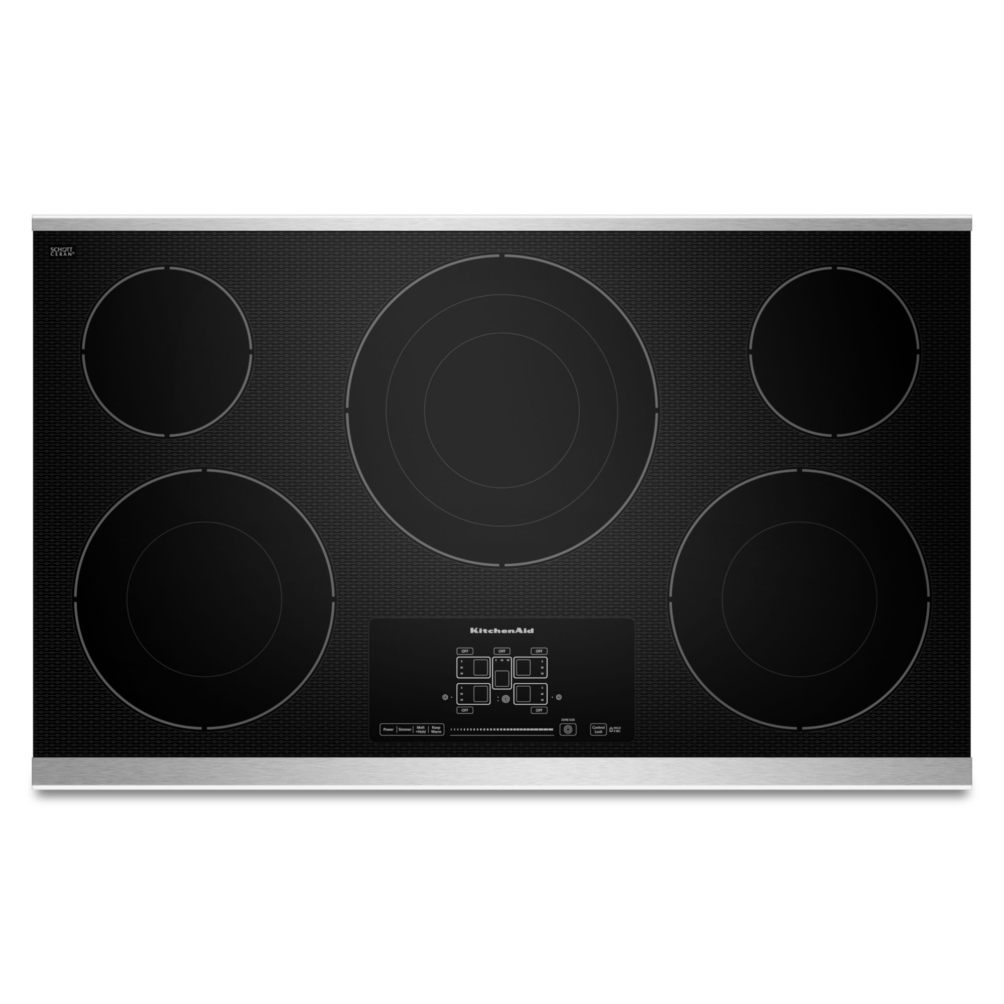 """KitchenAid KECC667BSS 36"""" 5-Element Electric Cooktop with Even-Heat™ Technology  - Stainless Steel"""