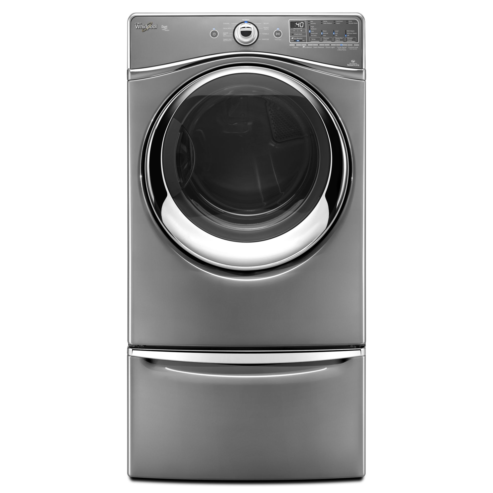 Whirlpool Duet® 7.4 cu. ft. Electric Dryer w/ Tap Touch Controls - Chrome Shadow