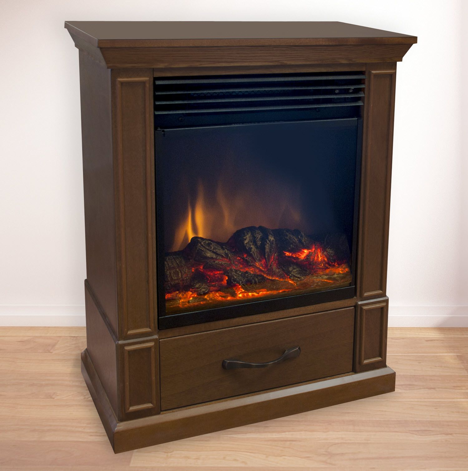 "Comfort Earth Elkin 20"" Mobile Electric Fireplace - Walnut"