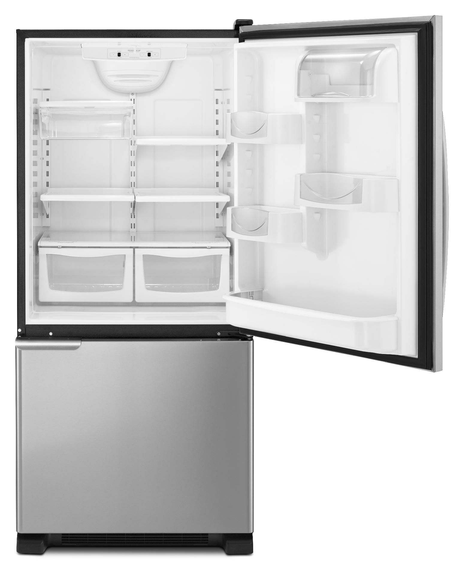 Maytag 19 cu. ft. Bottom-Freezer Refrigerator w/ Spill-Catcher™ Shelves - Stainless Steel