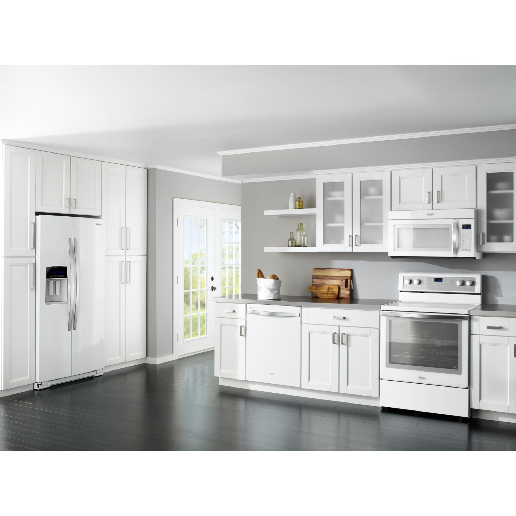 Whirlpool Gold 24.5 cu. ft. Counter-Depth Side-by-Side Refrigerator w/ MicroEdge™ Shelves - White Ice