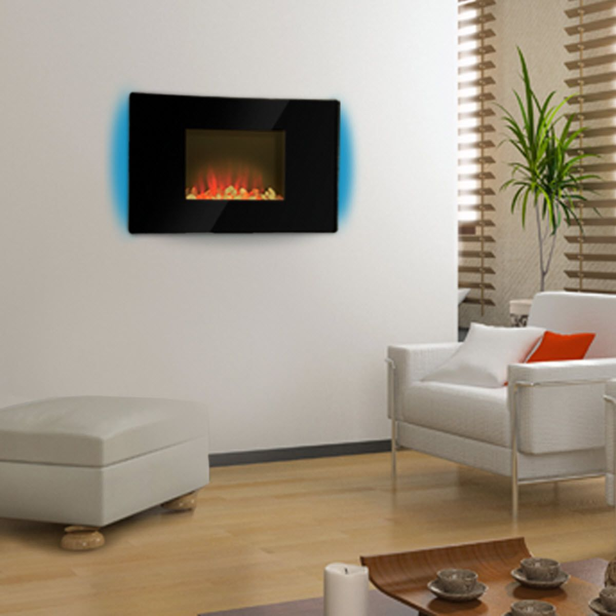 "Comfort Earth Kendall 35"" LED Wall-Mount Electric Fireplace with Remote Control - Black"