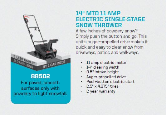 MTD 14 in. 11 Amp Single-Stage Electric Snowblower