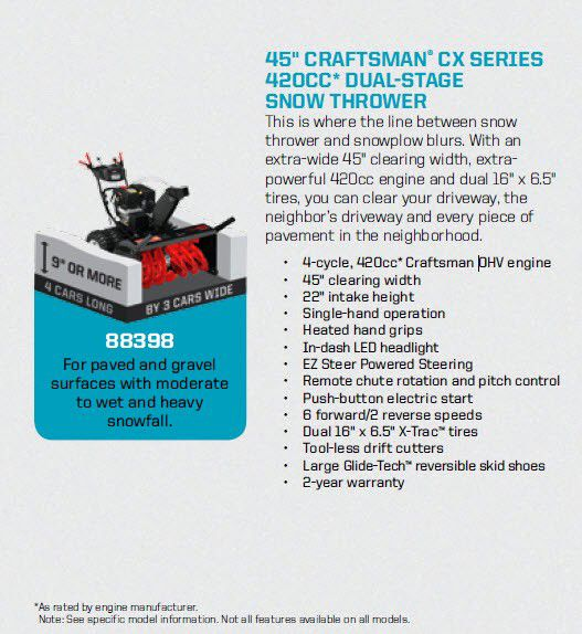 Craftsman CX Series 45 in 420cc* Dual-Stage Snowblower w/ EZ Steer
