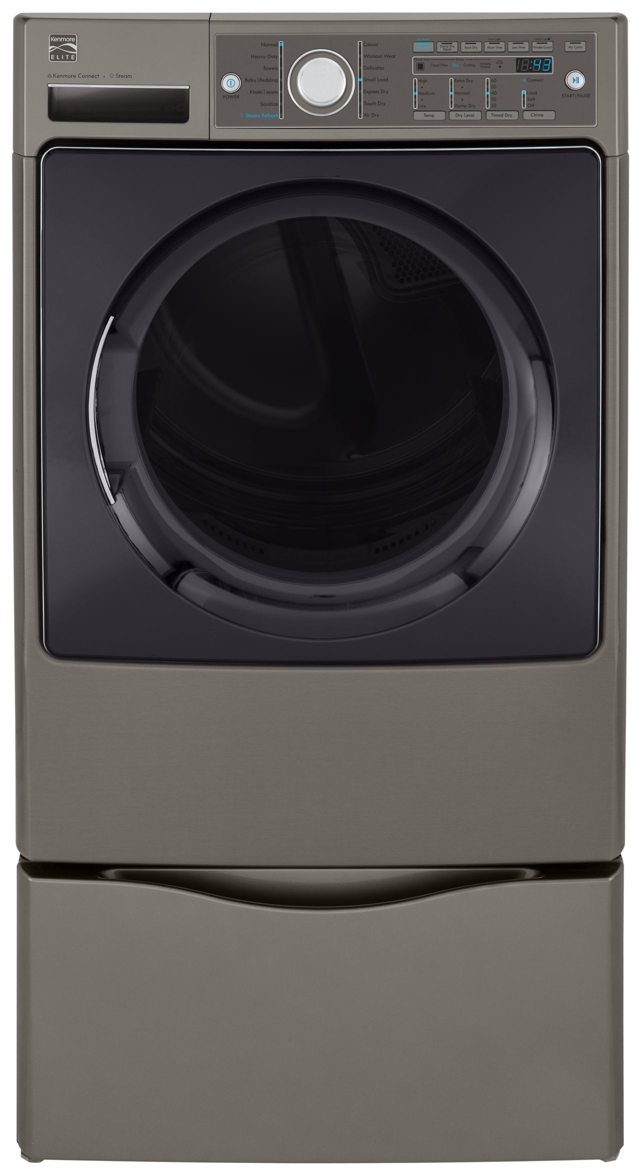 Kenmore Elite 7.4 cu. ft. Gas Steam Dryer - Metallic Silver