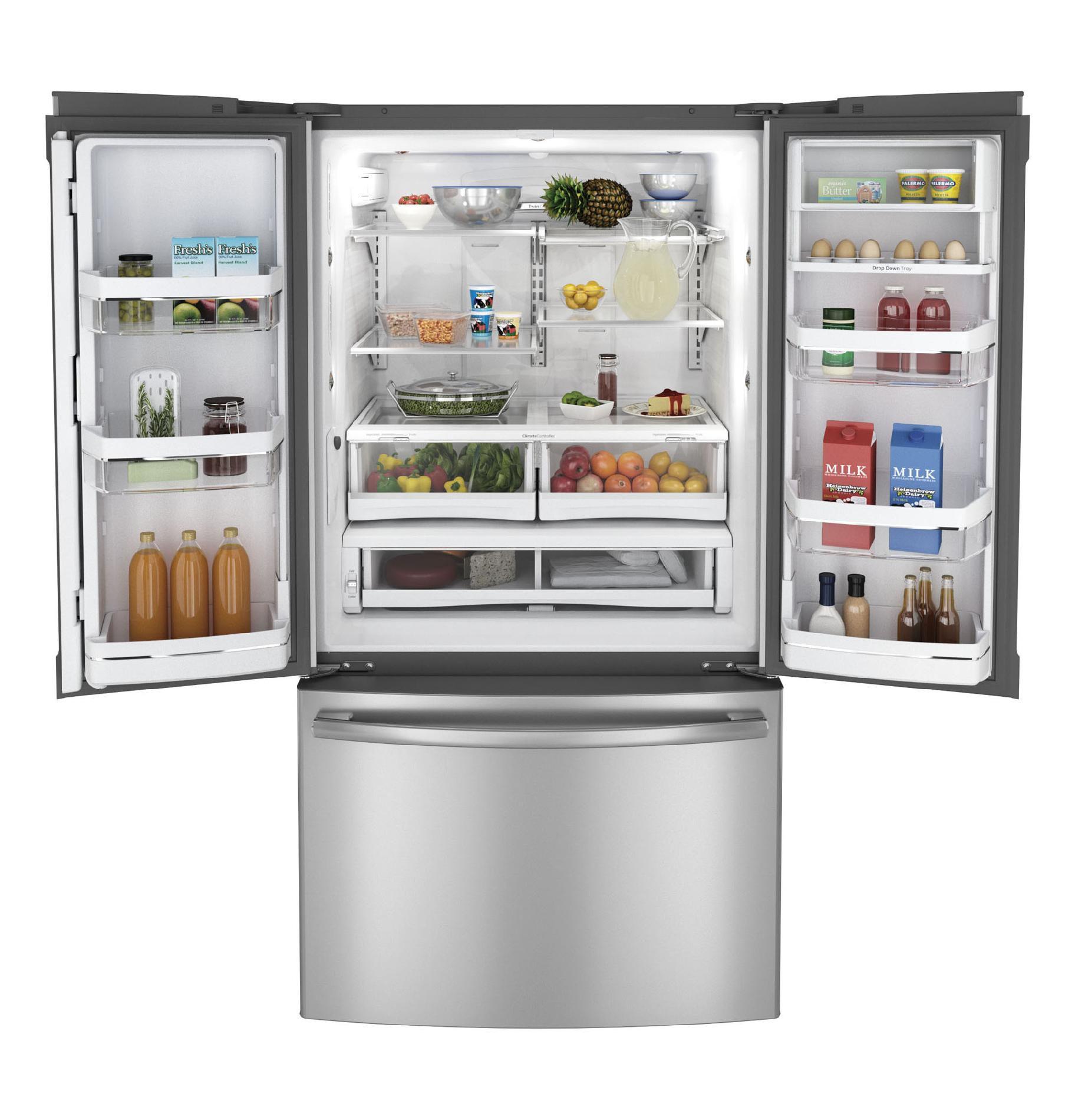 GE Profile PWE23KSDSS 22.7 cu. ft. Counter-Depth French Door Refrigerator - Stainless Steel