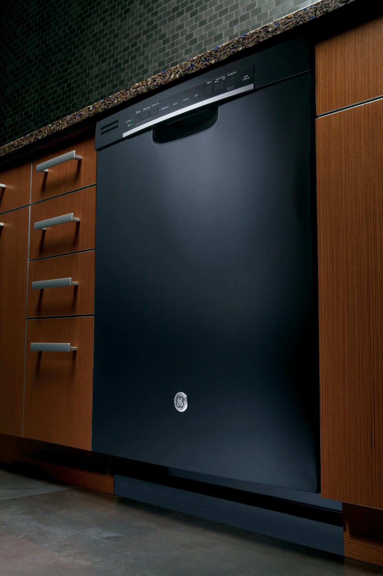 "GE 24"" Hybrid Dishwasher w/ Front Controls - Black"