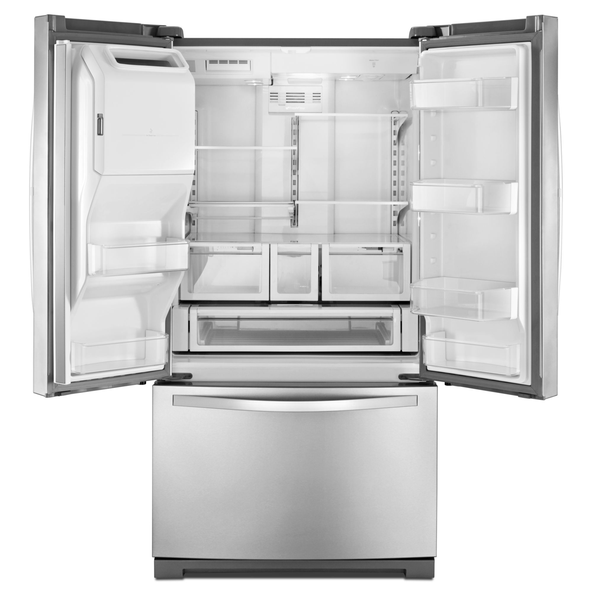 Whirlpool 26 cu. ft. French Door Refrigerator w/ MicroEdge Shelves - Satina Steel