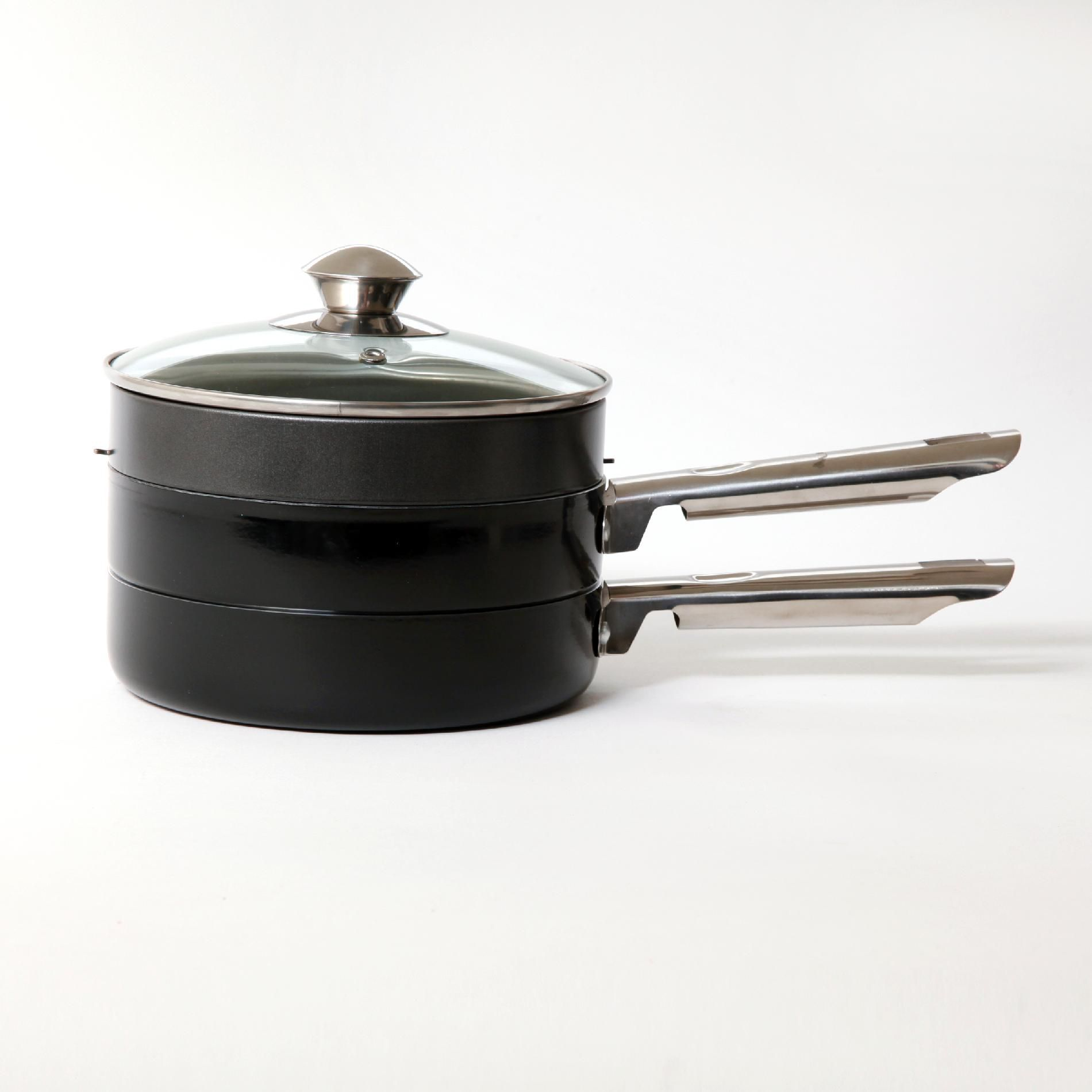 Glanford 4PC Black Stackable Cookware Set