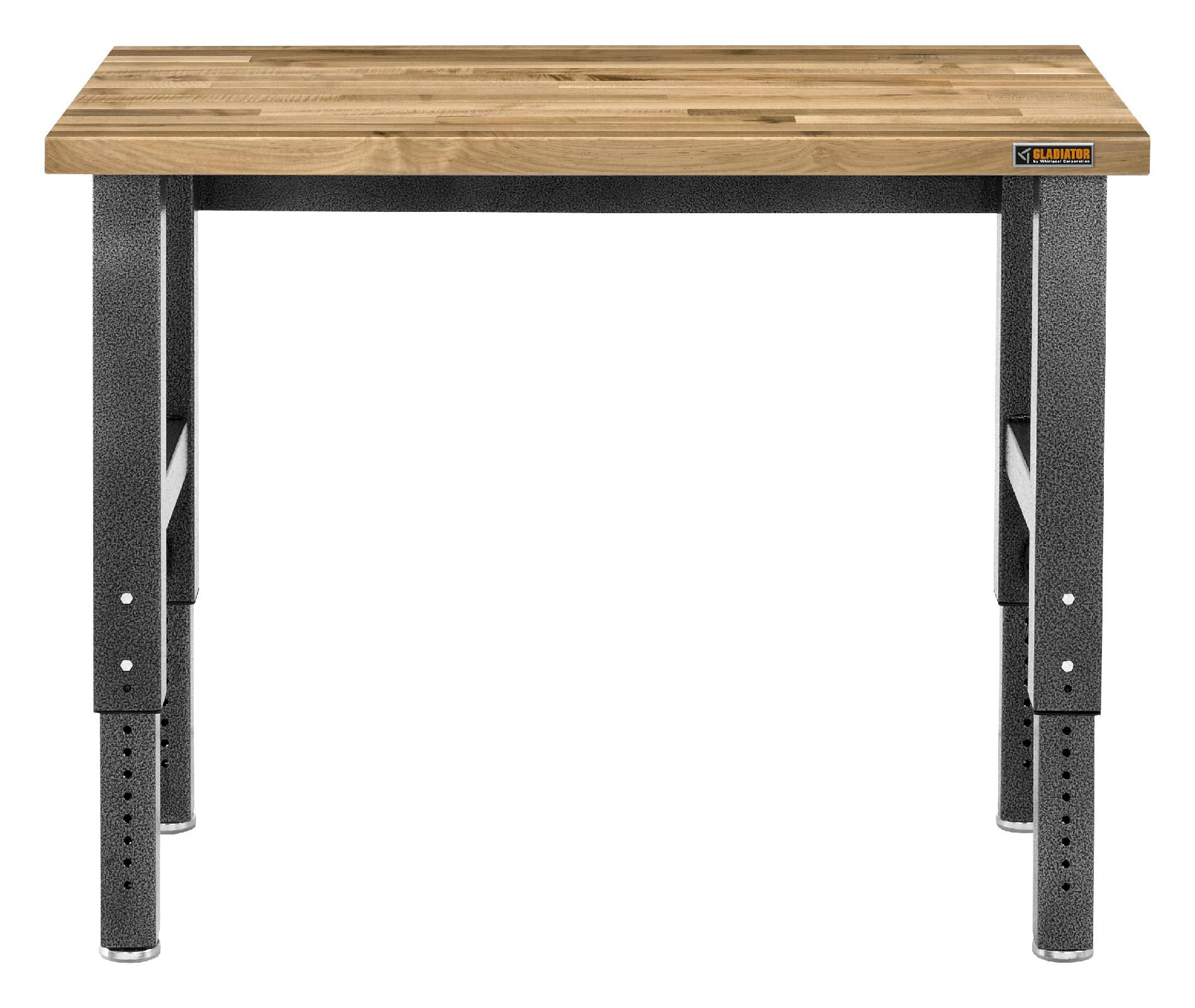 Gladiator Gladiator Premier Series 42 in. H x 48 in. W x 25 in. D Maple Top Adjustable Height Workbench in Hammered Granite