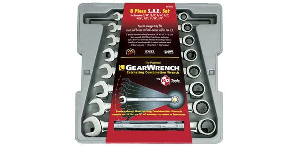 GearWrench 8 pc. Metric Flat Full Polish Ratcheting Combination Wrench Set