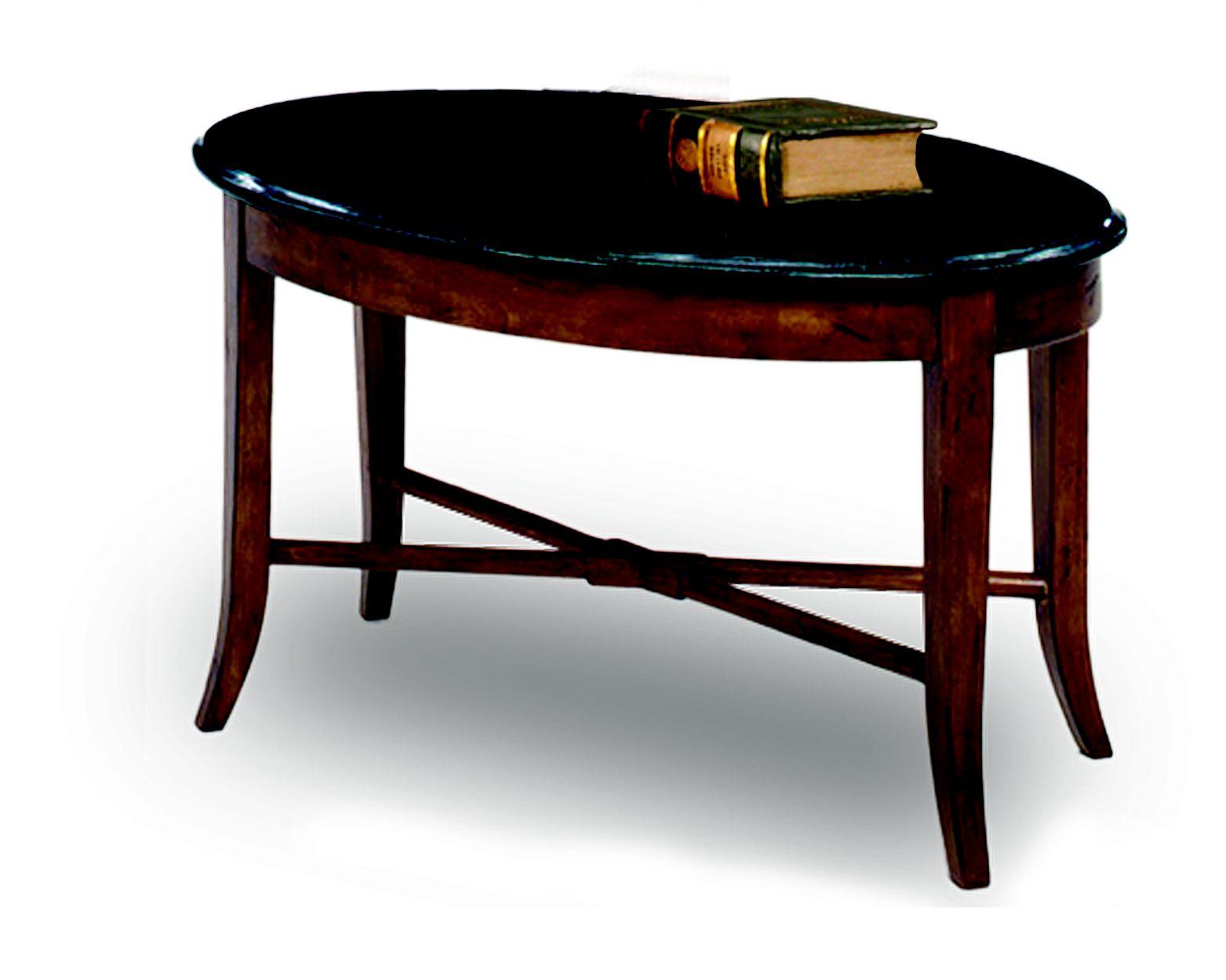 Leick Oval Black Granite coffee table - Walnut