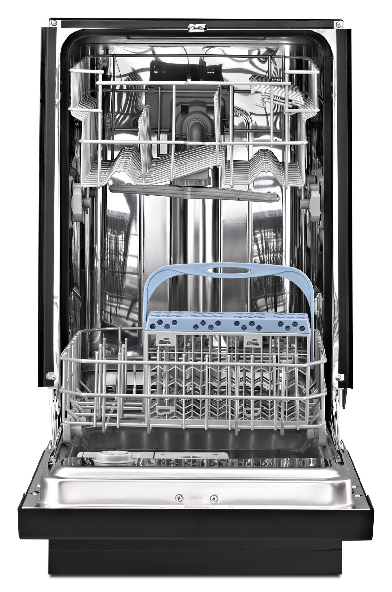 "Whirlpool WDF518SAAB 18"" Built-In Dishwasher w/ 100% Stainless Steel Tub - Black"
