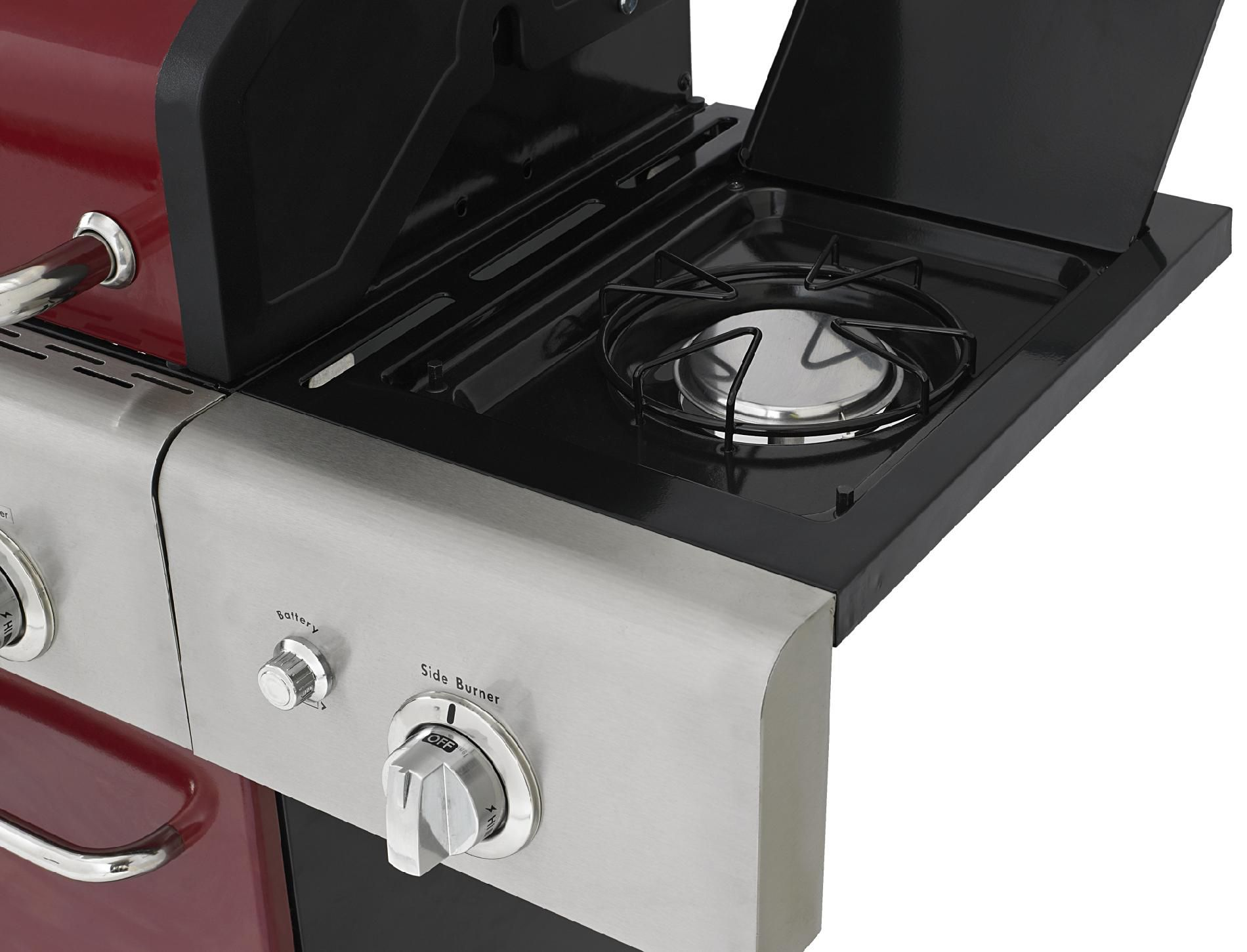 Kenmore 4-Burner LP Red Gas Grill w/ Searing Burner & Side Burner