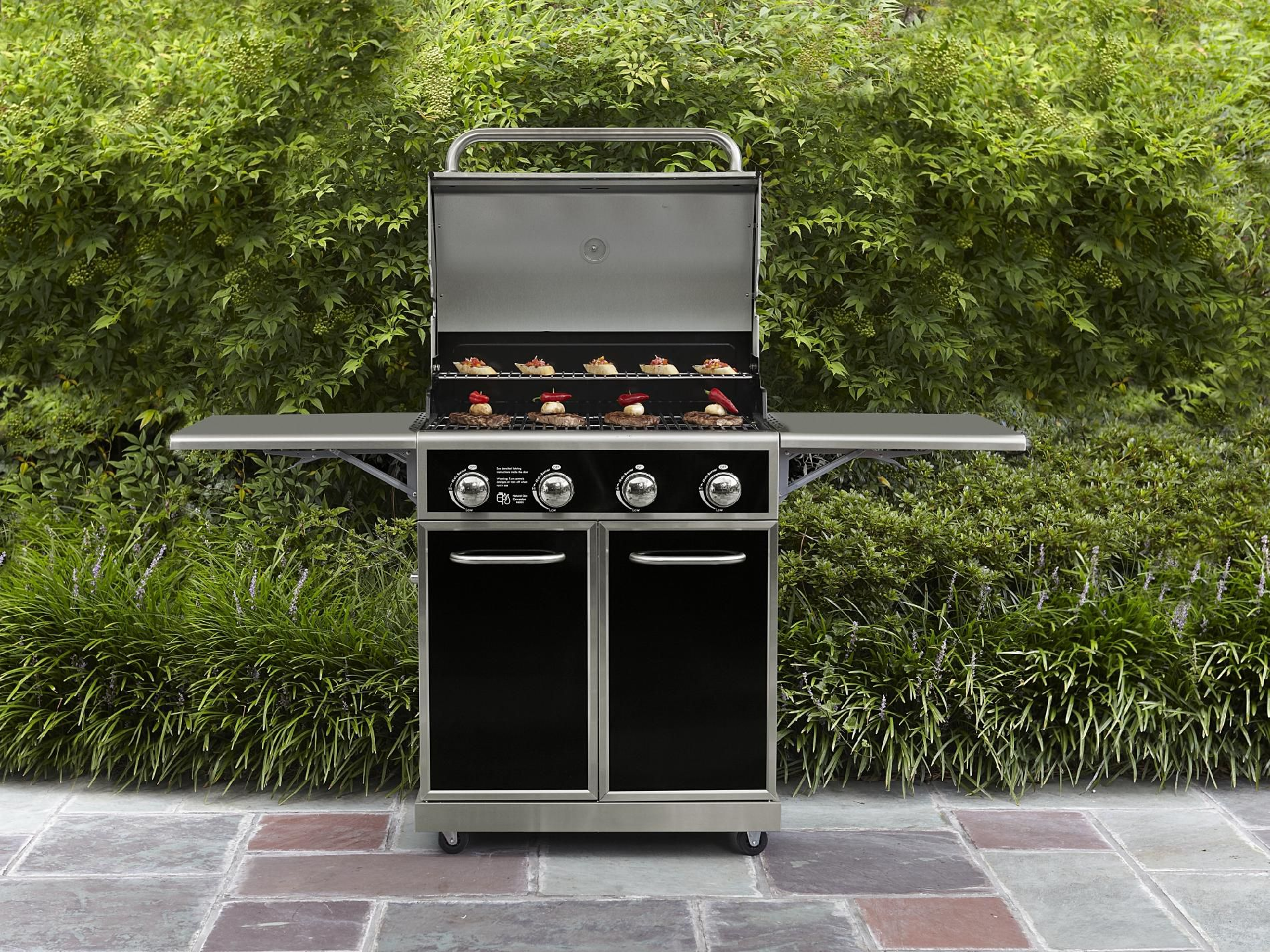Kenmore 4-Burner Gas Grill with Folding Side Shelves