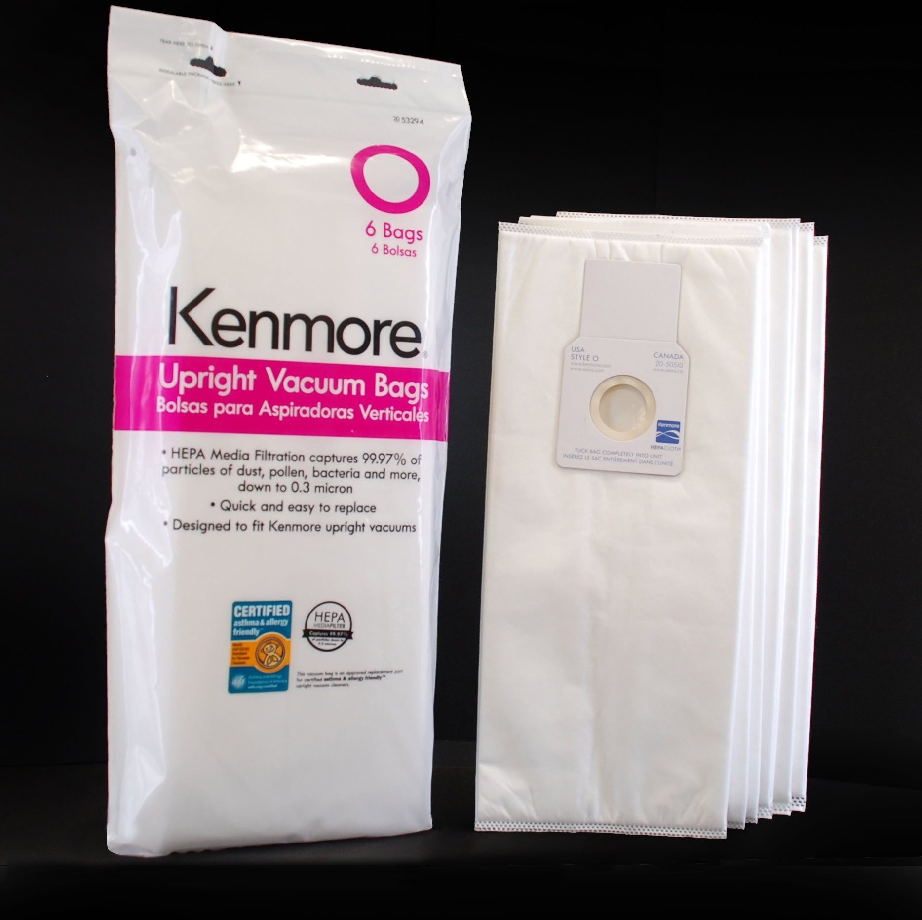 Kenmore 53294 Type O HEPA Vacuum Bags for Upright Vacuums, 6 pk