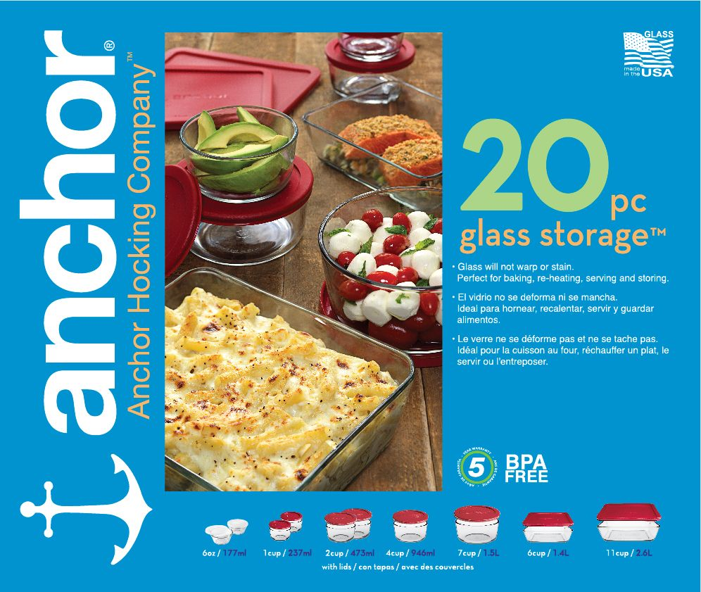 Anchor 20pc Anchor Food Storage Set wRed Lids