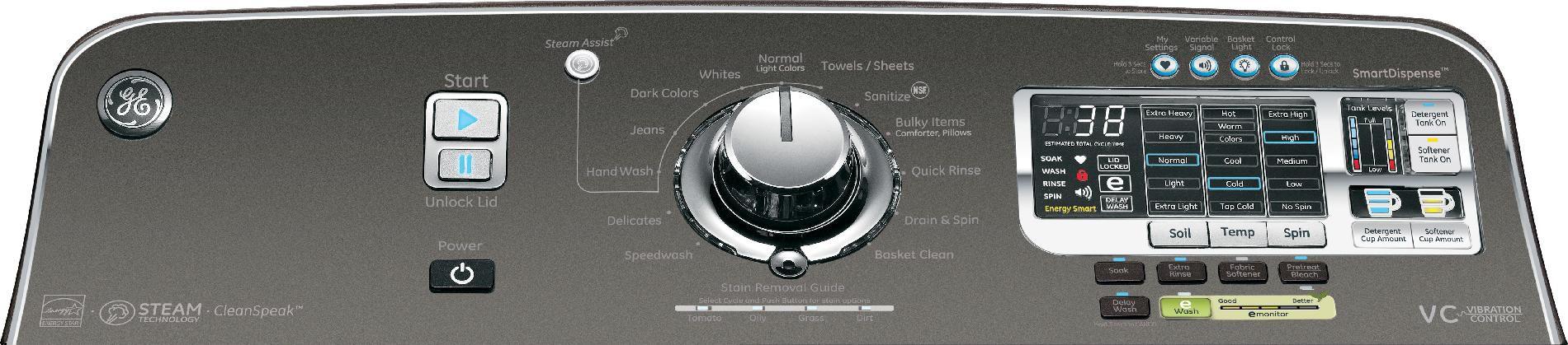 GE 5.0 cu. ft. Top-Load Washer - Metallic Carbon