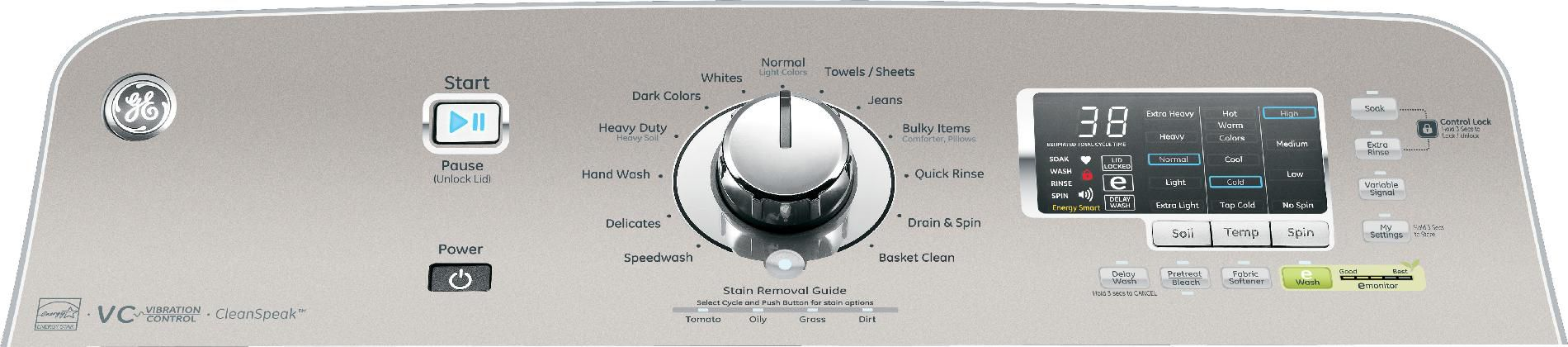 GE 4.8 cu. ft. High-Efficiency Top-Load Washer w/ Stainless Steel Basket - White