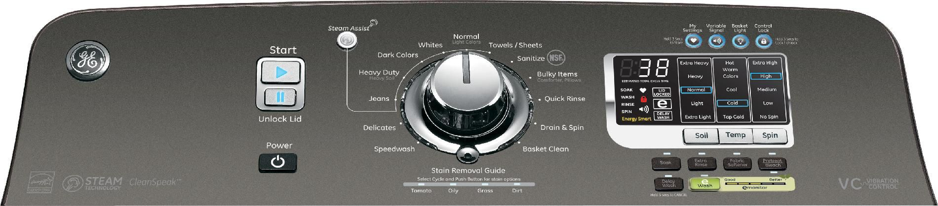 GE 4.8 cu. ft. Steam Top-Load Washer w/ Stainless Steel Basket - Metallic