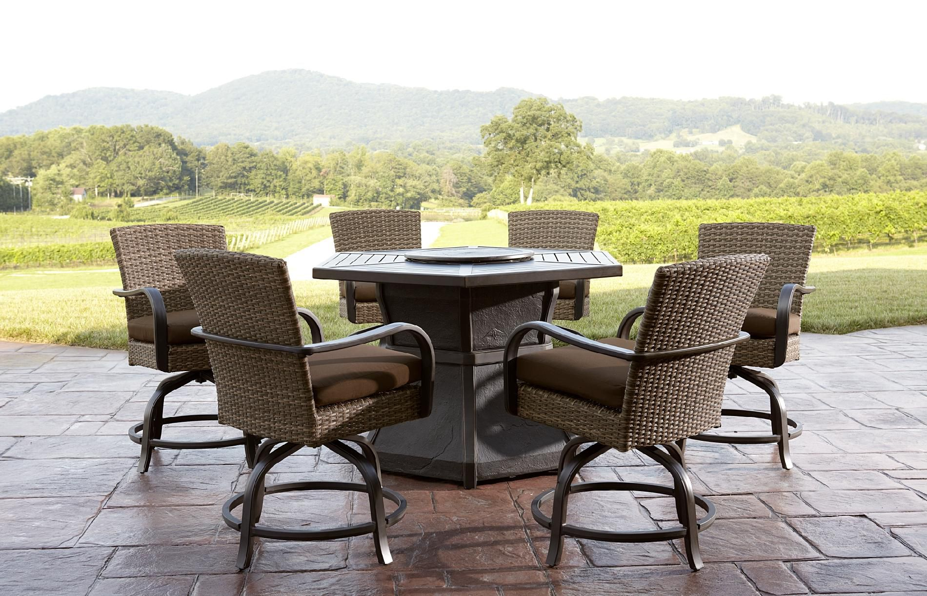 Agio Corseca 7pc Bar Set with Firepit Table *Limited Availability