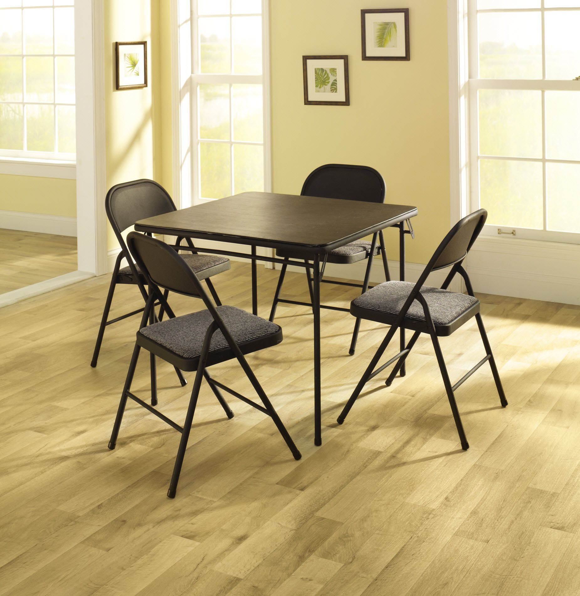 Cosco Home and Office Products 5 Piece Set with Vinyl Table Top and Fabric Chairs