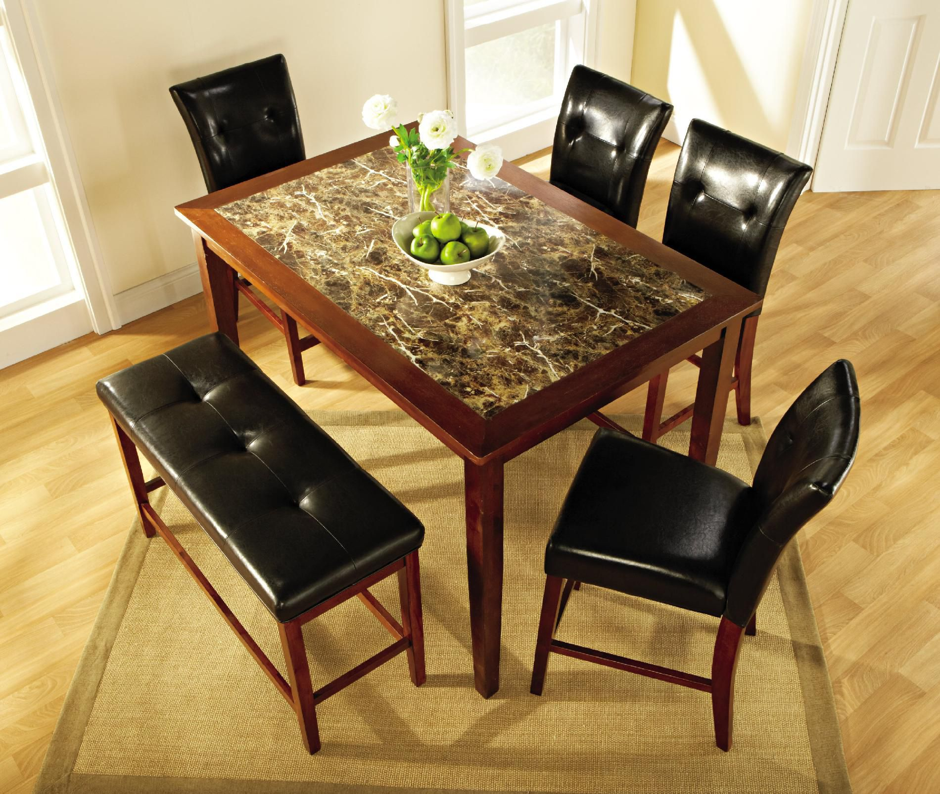 5pc. Faux Marble Dining Table Set