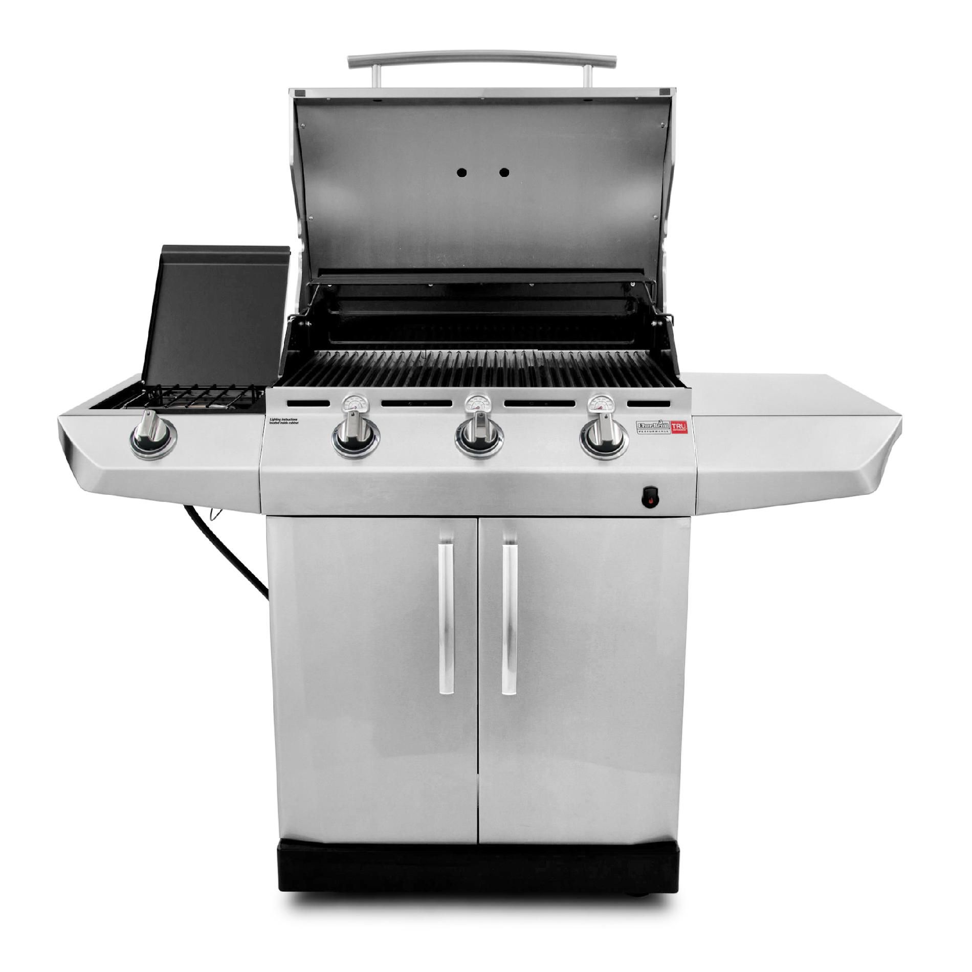 Char-Broil TRU-Infrared Performance 3-Burner Gas Grill with Side Burner and Storage Cabinet - Dual Fuel Capable