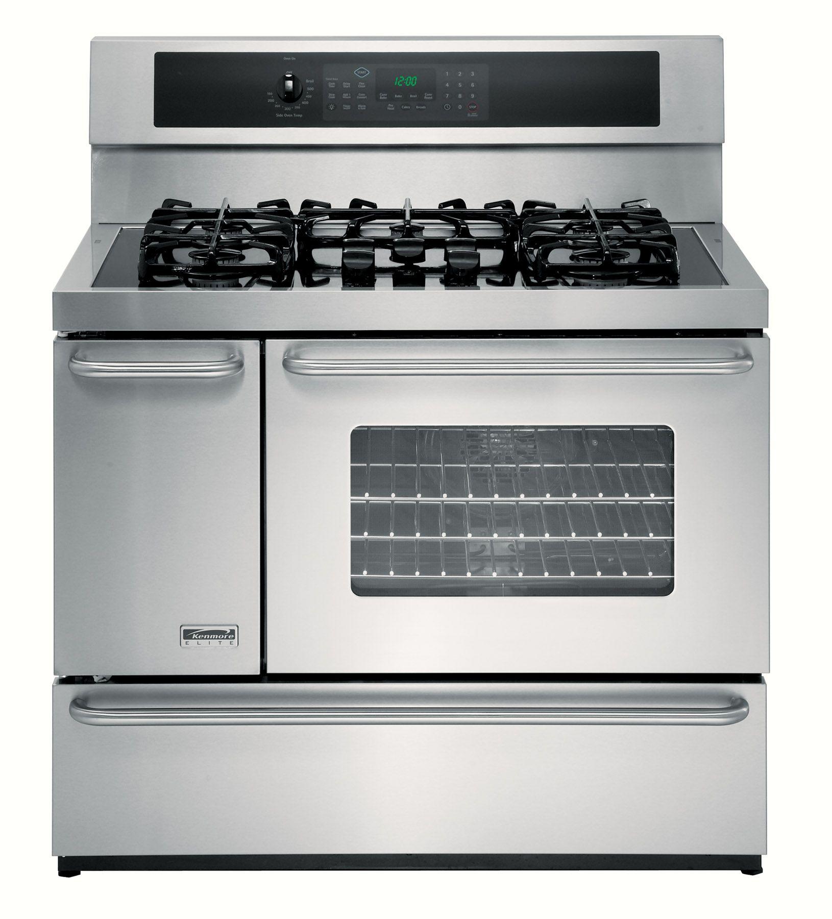 "Kenmore Elite 40"" Double-Oven Dual-Fuel Range w/Convection"