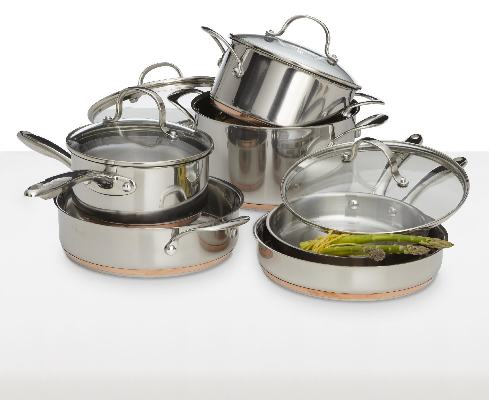 Kenmore 10 pc. Stainless Steel with Copper Band Cookware Set