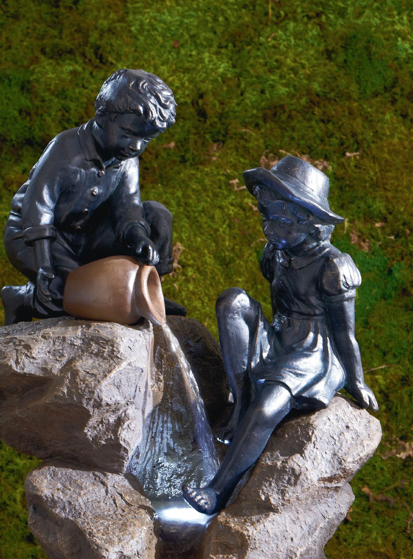 Garden Oasis Boy & Girl on Rocks Fountain