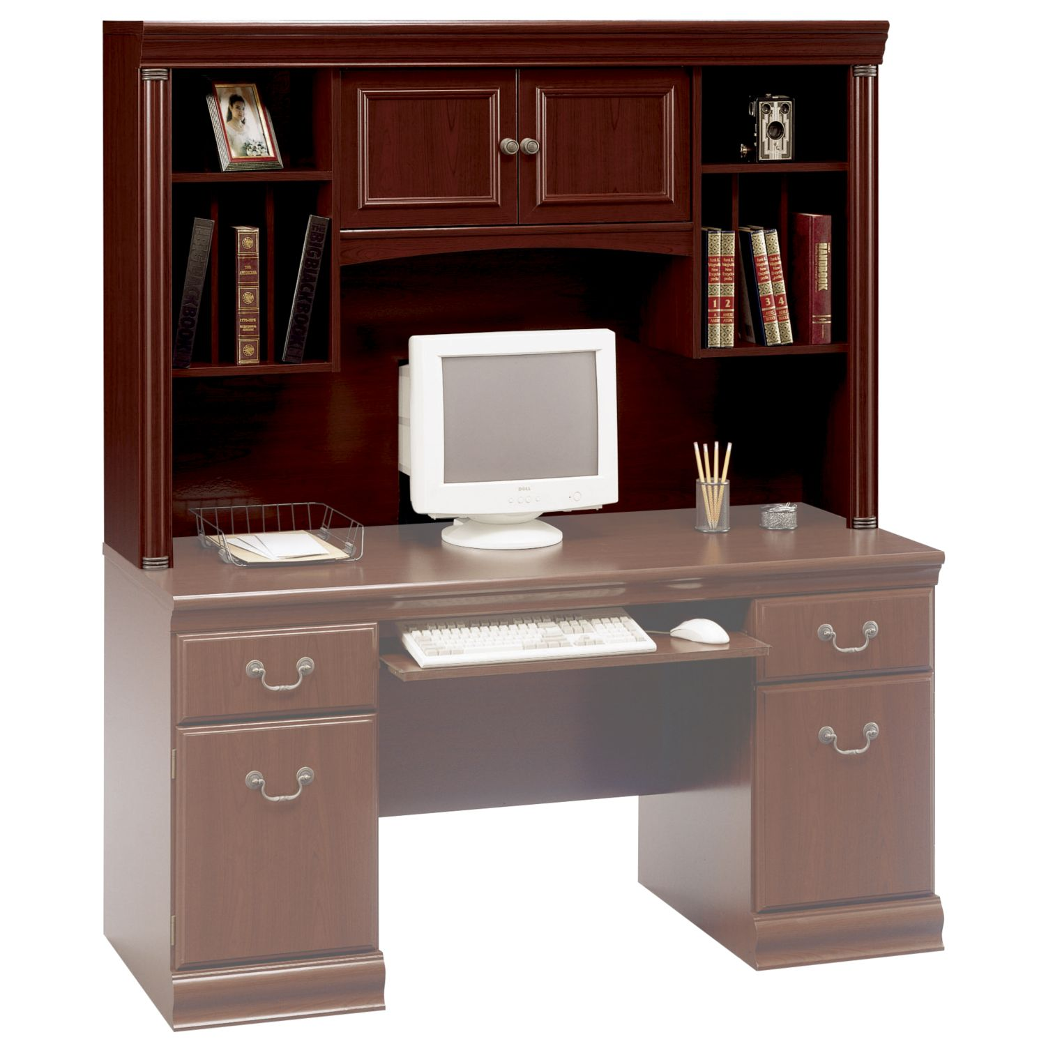 "Bush Birmingham 40.5""H x 60.625""W x 13.875""D Executive Hutch - Harvest Cherry"