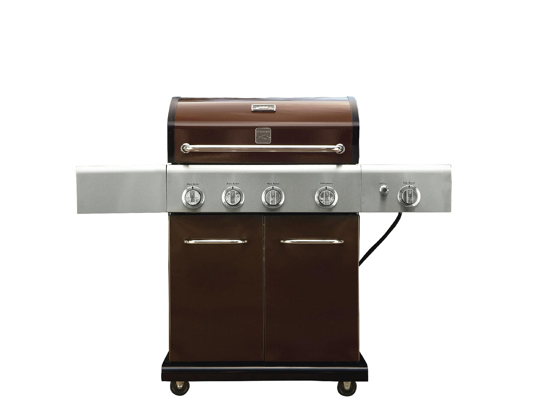 Kenmore 4-Burner LP Mocha Gas Grill w/ Searing Burner & Side Burner