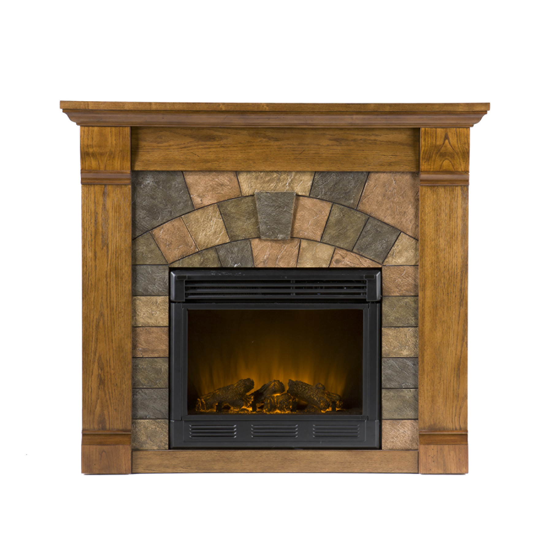 Southern Enterprises Elkmont Salem Antique Oak Electric Fireplace