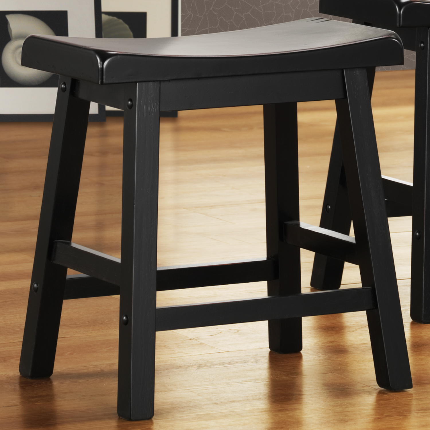 Oxford Creek Saddle Back 18 in. H Stool in Black Sand-Through (Set of 2)