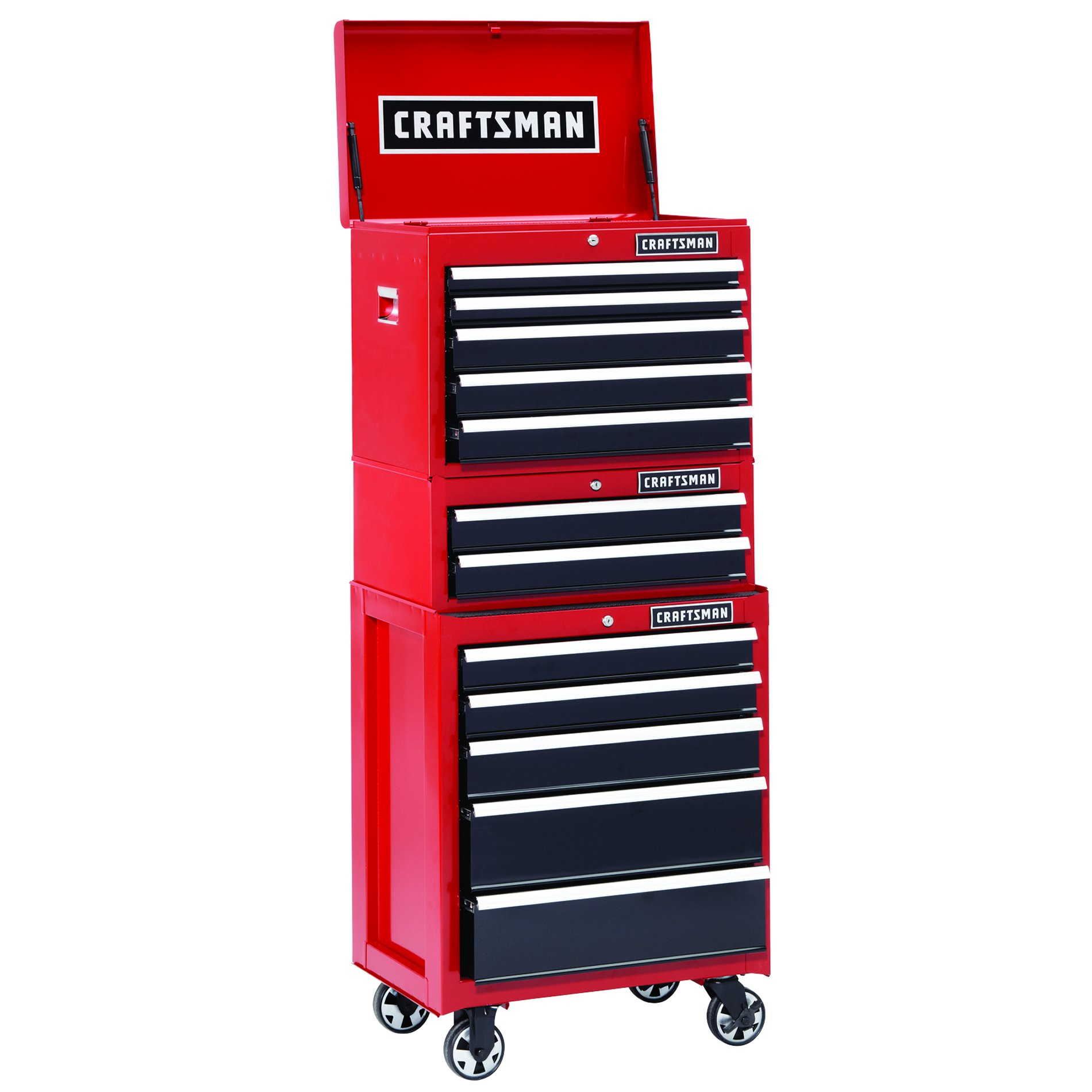 Craftsman 26 in. 5-Drawer Heavy-Duty Ball Bearing Rolling Cabinet - Red/Black