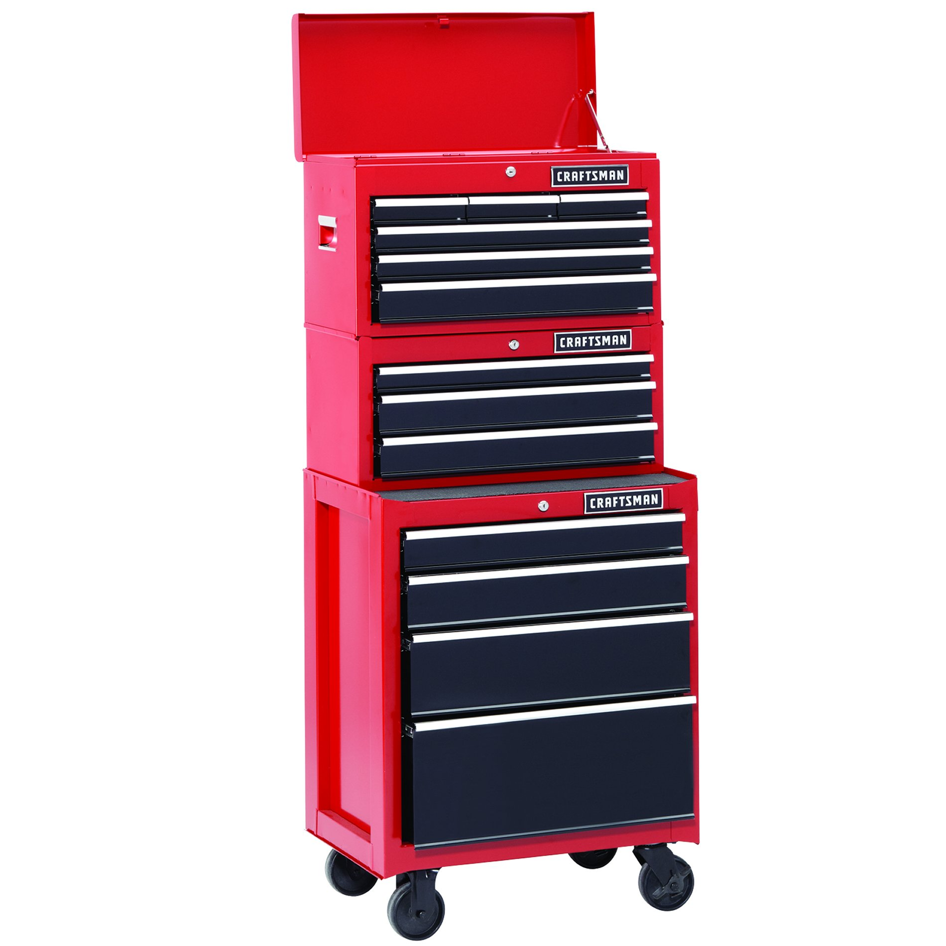 26 In. 13-Drawer Heavy-Duty Ball Bearing 3-PC Tool Chest Combo Red/Black