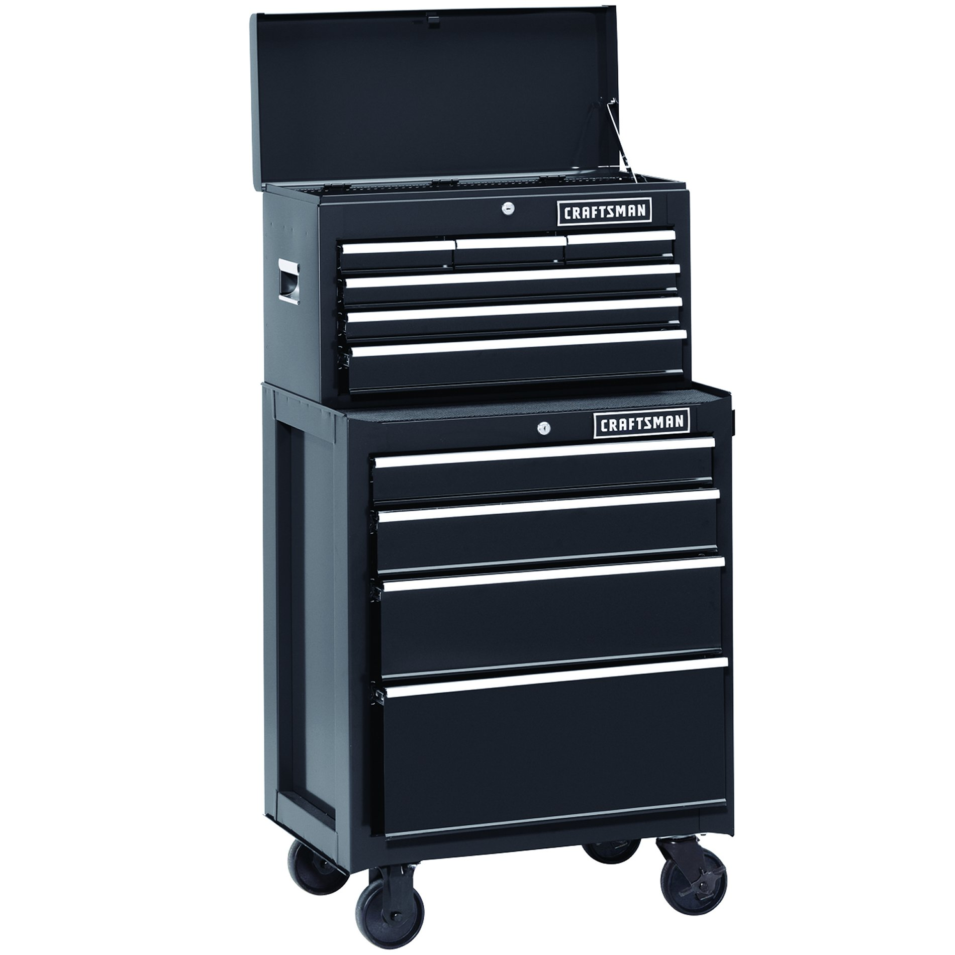 26 in. 10-Drawer Heavy-Duty Ball-Bearing 2-Piece Combo - Black