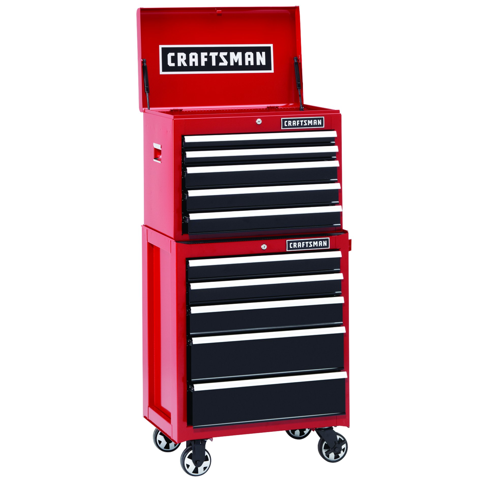 26 in. Wide 10-Drawer Heavy-Duty Ball-Bearing 2-Piece Combo - Red/Black