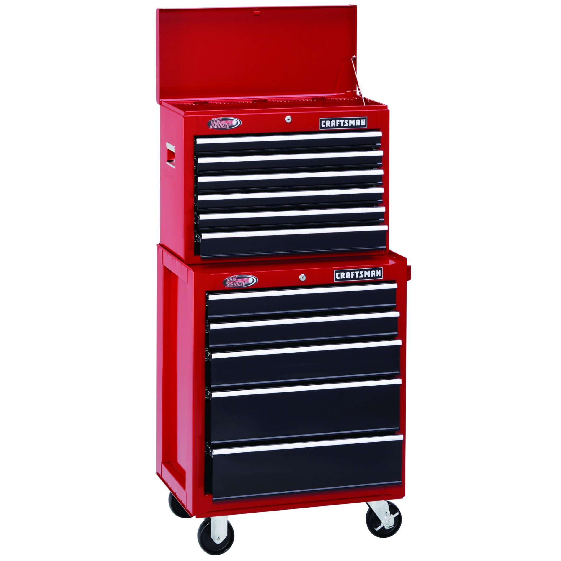 "Craftsman 26"" Wide 6-Drawer Ball-Bearing Top Chest - Red/Black"