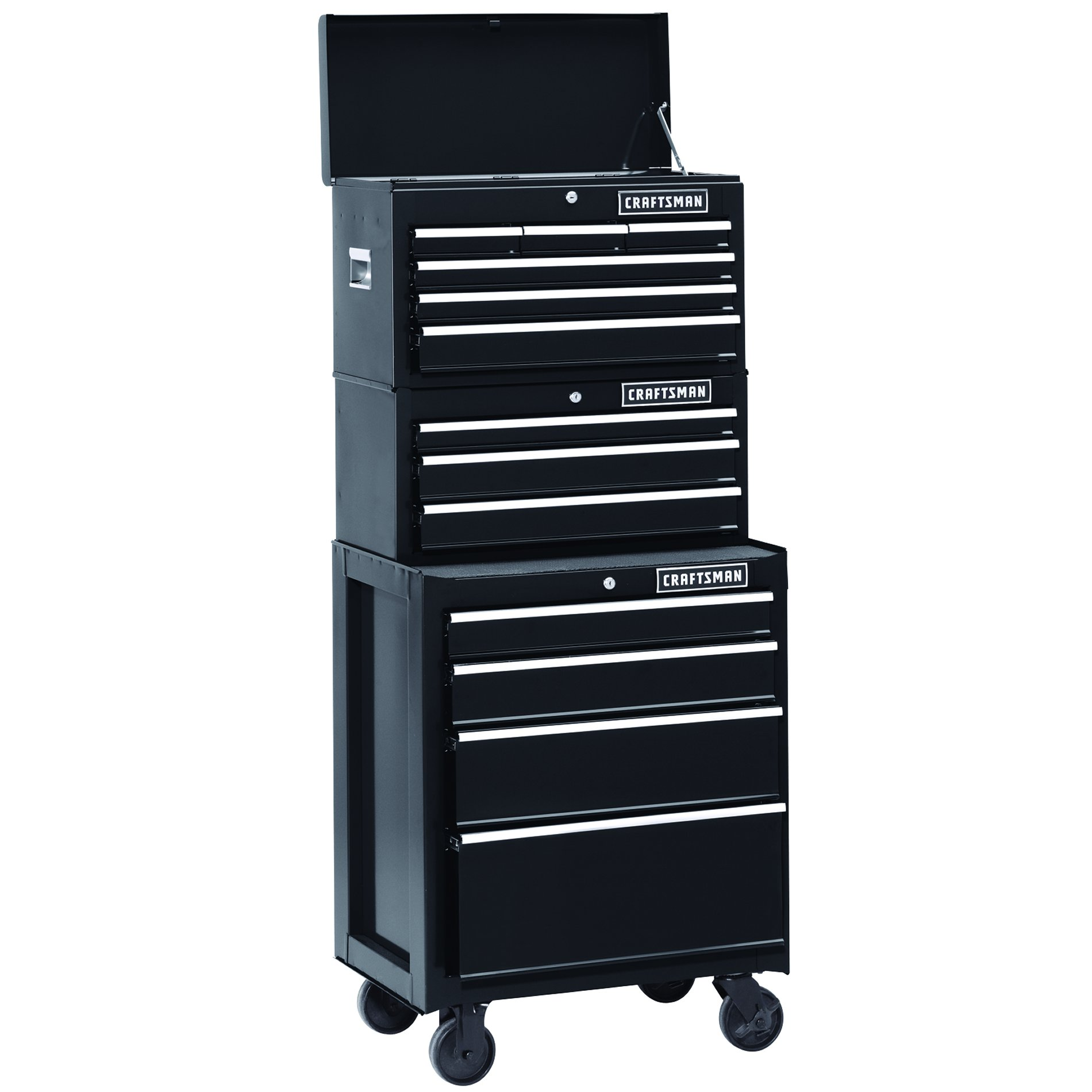 Craftsman 26 in. 3-Drawer Heavy-Duty Ball Bearing Middle Chest - Black