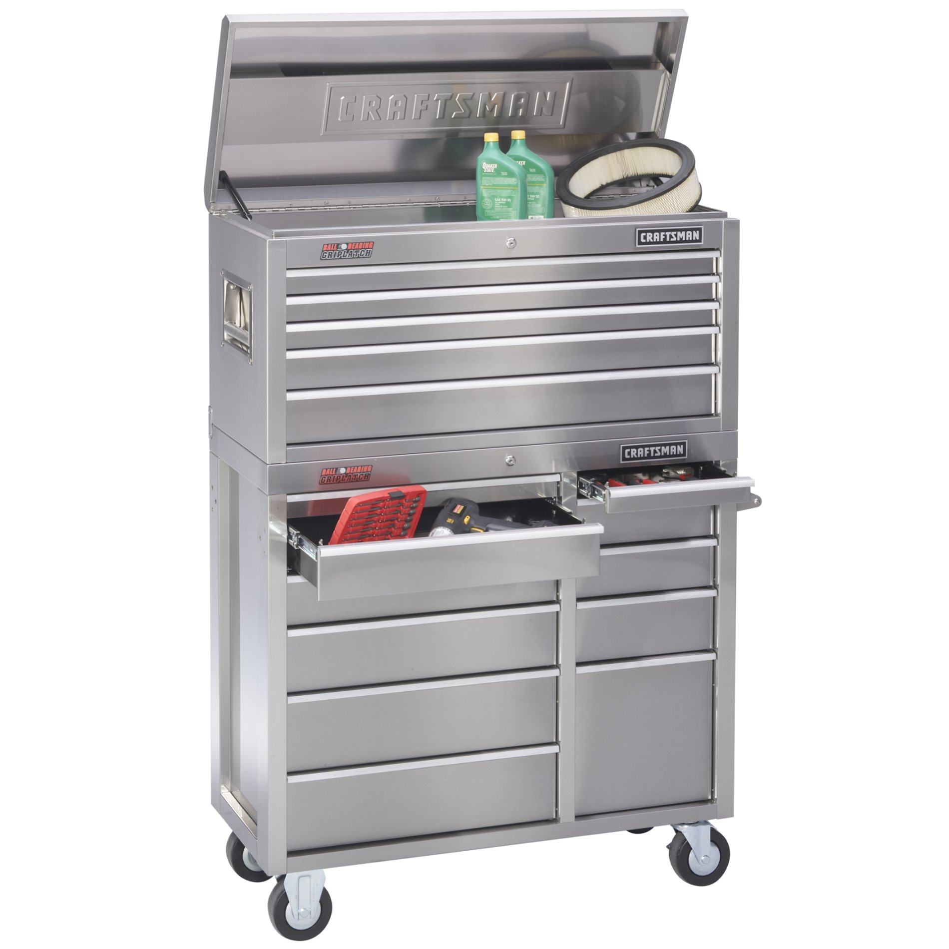 "Craftsman 41"" Wide 11-Drawer Ball-Bearing GRIPLATCH® Tool Cart - Stainless Steel"