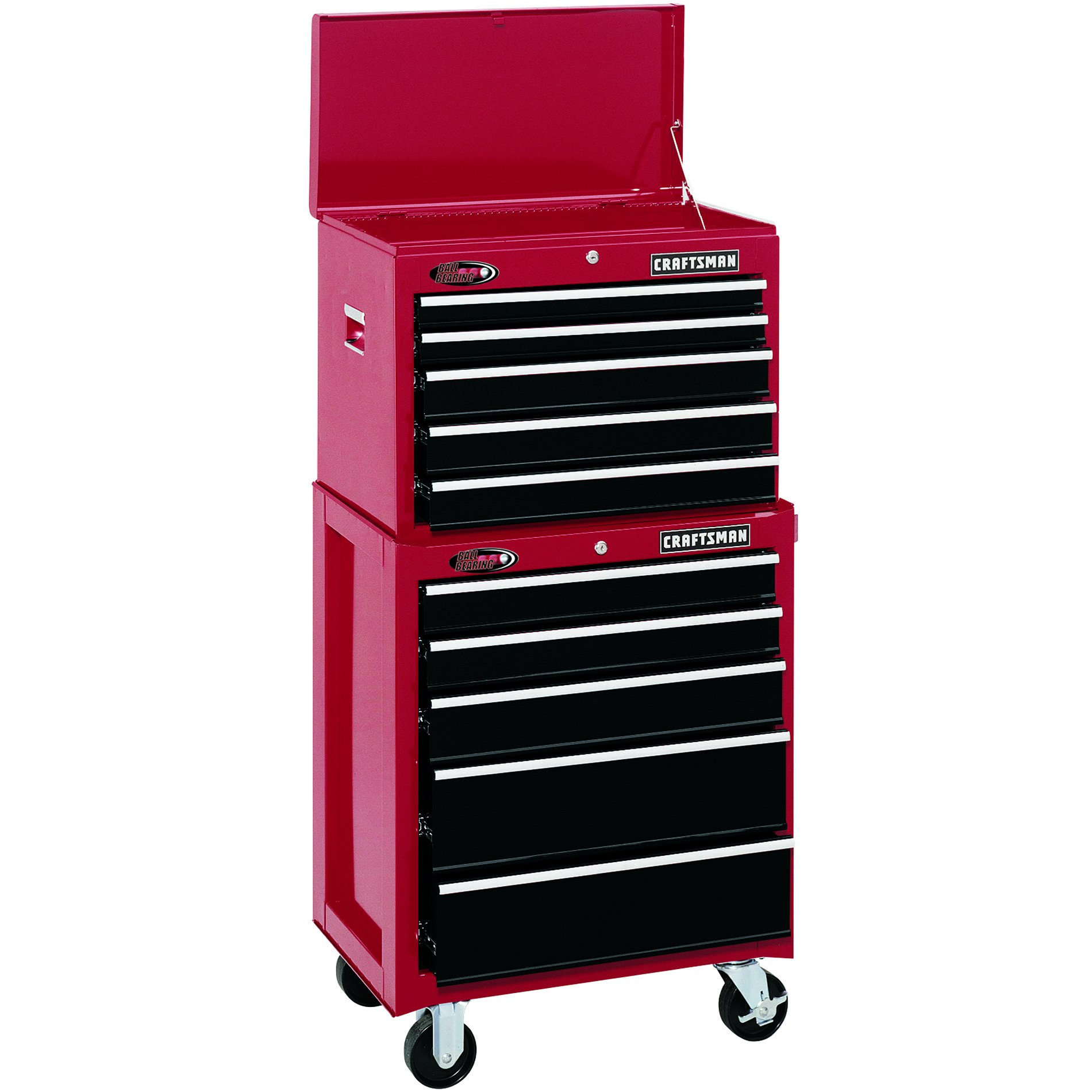 "Craftsman 26"" Wide 5-Drawer Ball-Bearing Bottom Chest - Red/Black"