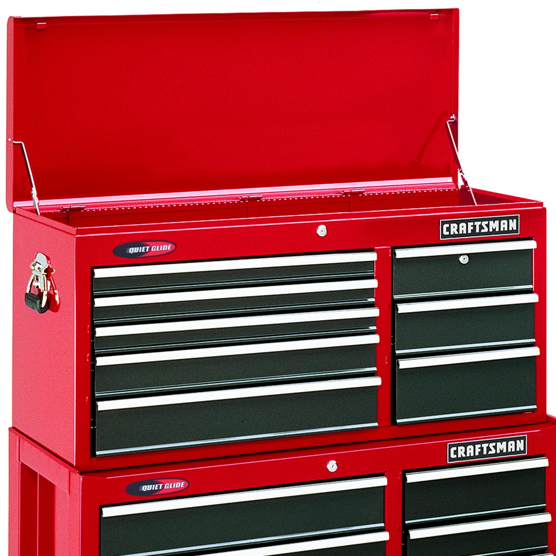 """Craftsman 40"""" Wide 8-Drawer Quiet Glide Top Chest - Red/Black"""