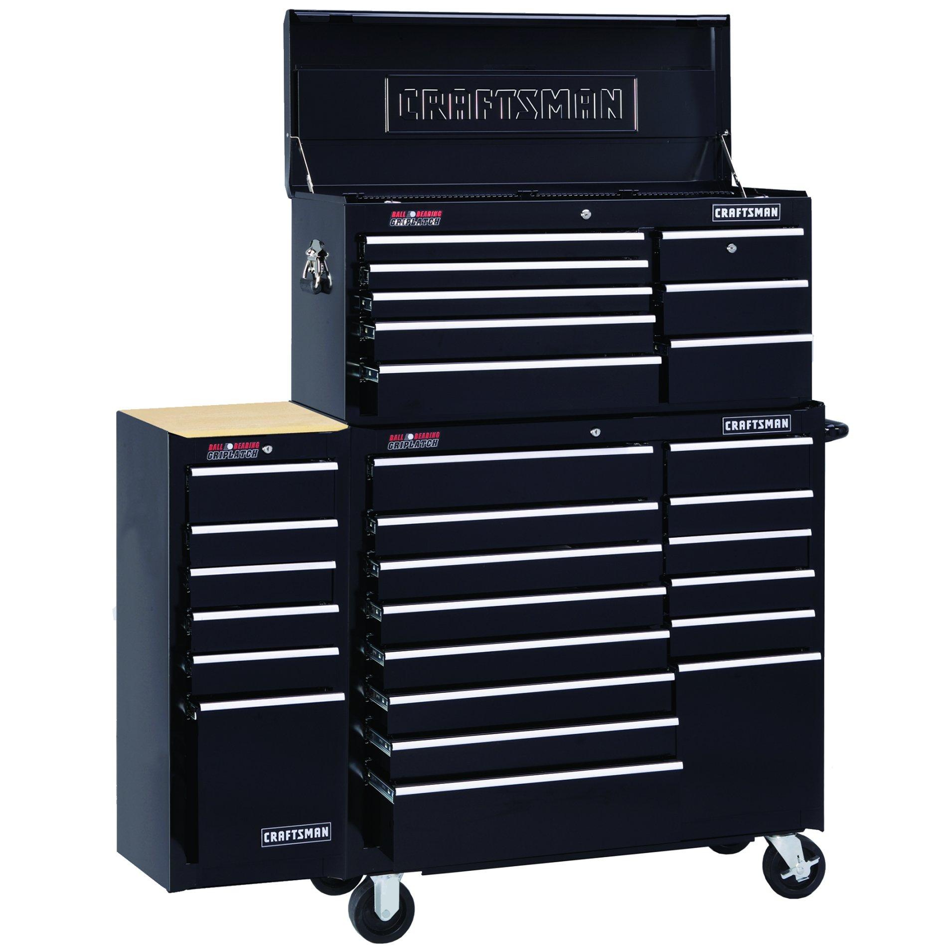 """Craftsman 40"""" Wide 14-Drawer Ball-Bearing Griplatch Tool Cart - Black"""