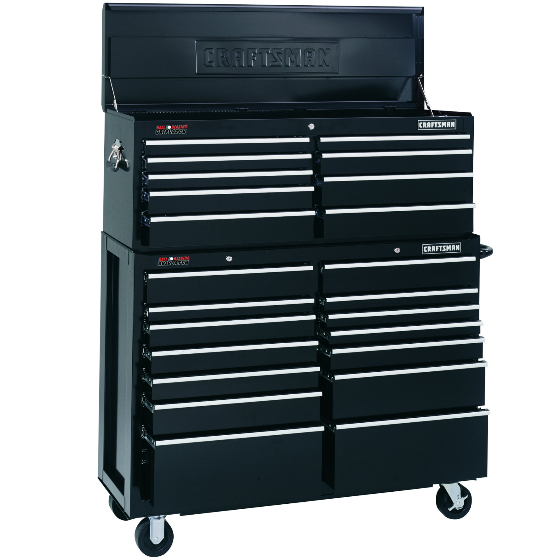 "Craftsman 51-1/4"" Wide 9-Drawer Ball-Bearing GRIPLATCH® Top Chest - Black"