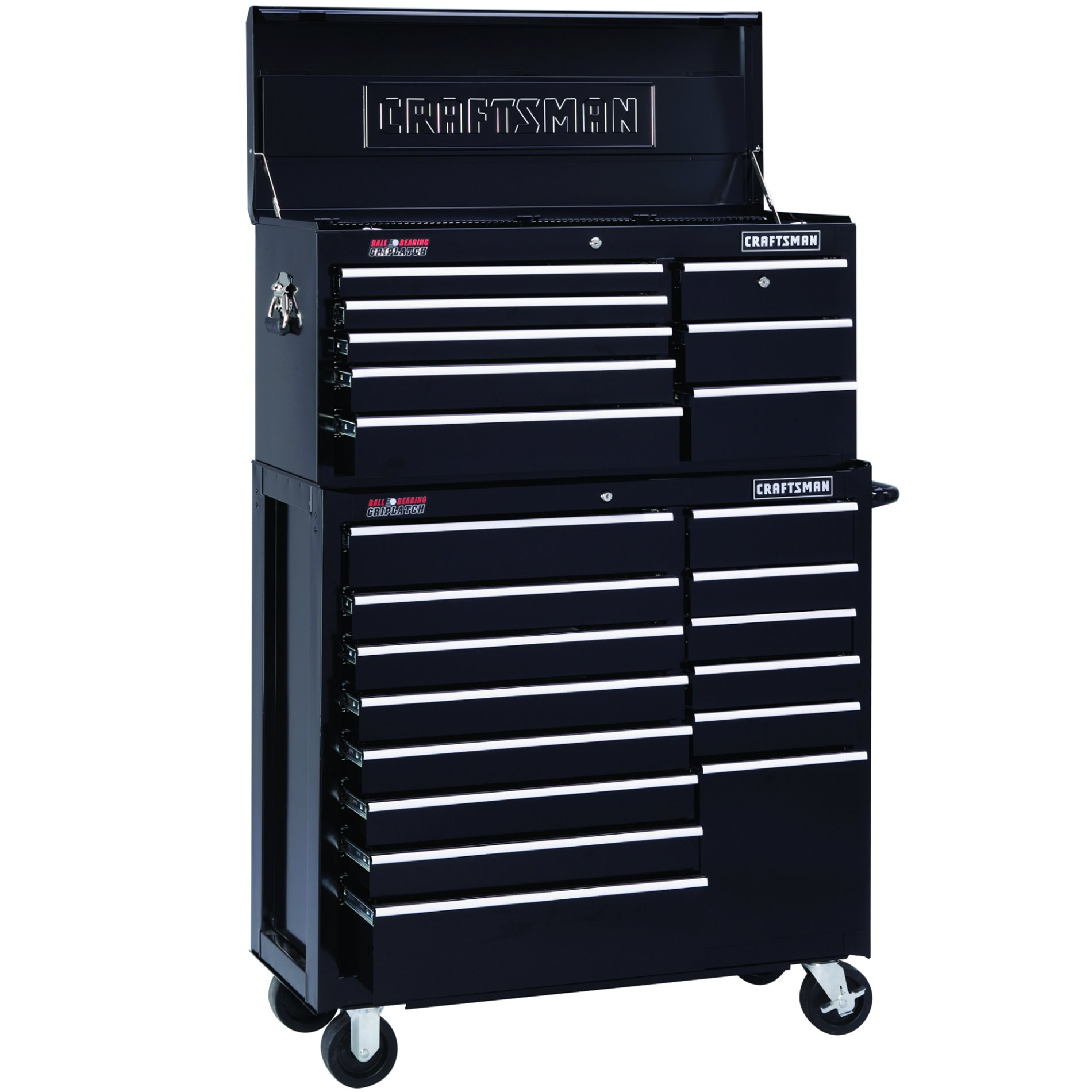 "Craftsman 40"" Wide 8-Drawer Ball-Bearing Griplatch Top Chest - Black"